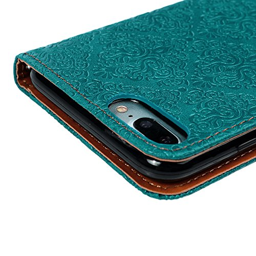 "iPhone 7 Plus Wallet Case YOKIRIN Flip Hülle für iPhone 7 Plus (5.5"") Flipcase Premium PU Leder Brieftasche Book Case TPU Innenschale Ledercase Handyhülle Folio Schutzhülle Handytasche Handyschale Sta Green"