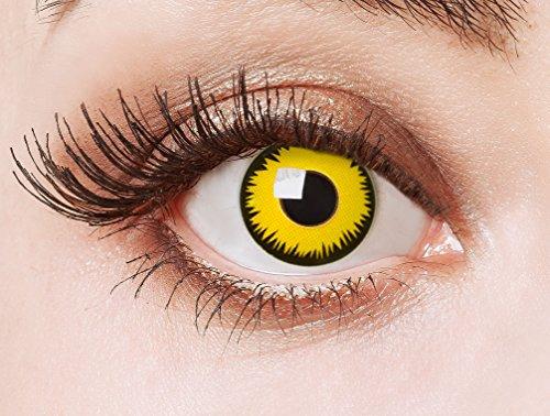 unte Kontaktlinsen farbig für ein Vampir Kostüm farbige gelbe 12 Monatslinsen für deine Halloween Schminke (Pennywise Halloween-make-up)