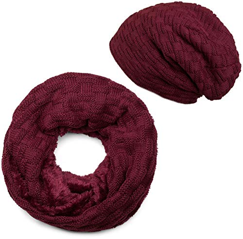 styleBREAKER Strick Loop Schal und Beanie Mütze Set mit Flecht Muster, Fleece Innenfutter, Winter, Unisex 01018211, Farbe:Bordeaux-Violett