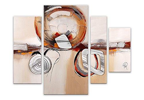 Arte Dal Mondo Abstract modern acryl gemälde auf leinwand Druck von Hand dekoriert Wandverzierung, Multicolor 80x109x3.5 cm 4-Einheiten