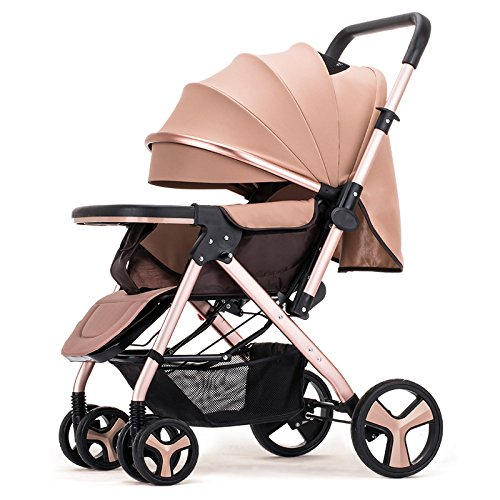Baby Pram Stroller Pushchairs Buggy Safe and Care Four Wheel Foldable Adjustable Jogger Travel System Two-Way Implementation,Gold