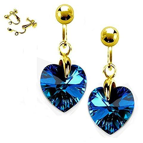 Bleu foncé Boucles d'oreille clips 10 mm en forme de cœurs Cristaux Swarovski Plaqué or Coffret cadeau Diosa