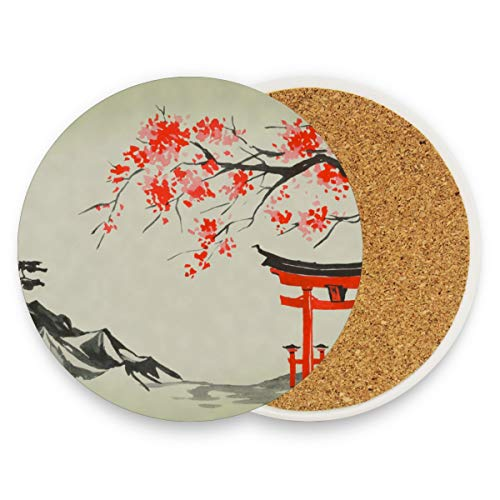 Tempel Gebirgsbaum rund saugfähig Keramik Stein Getränkeuntersetzer Kaffeetasse Matten-Set für Home Office Bar Küche (Set von 1 Stück), keramik, multi, 1 Stück ()