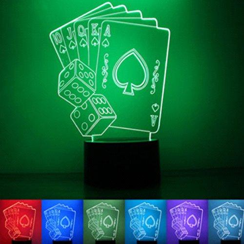 3D Leuchte 3D Lampe Deko 3D LED Lampe Hologramm mit Farbwechsel - Motiv Spielen ca.19x14cm inkl.Sockel - 3D Illusion Dekolicht Nachtlicht mit USB Anschluß