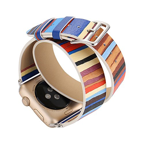Yallylunn Long Leather Band Double Circle Tour Bracelet Watchband Vintage Stil Den TäGlichen Verschleiß Bequem for Apple Watch 42Mm