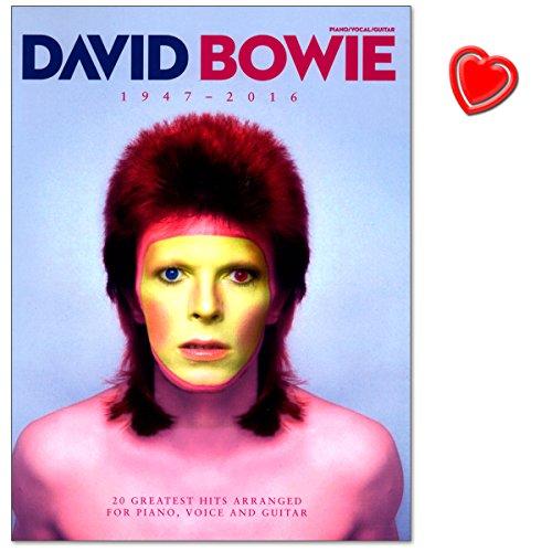 David Bowie 1947 - 2016 - Songbook enthält über 20 von David Bowies größten Hits seiner gesamten Karriere von 1969 bis 2016 - Notenbuch mit bunter herzförmiger Notenklammer - Verlag Music Sales - AM1011670 - 9781785582769