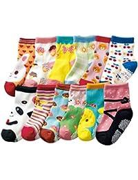 JT-Amigo 12 Paire de Chaussettes Antiderapants Bébé 6 à 36 mois