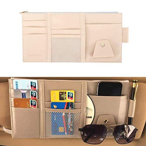 EUTUOPU Sun Visor Organizer,Car Visor Storage,Card Storage Glasses Holder Sunshade Sleeve Wallet Clips - Essential Gift for Any Driver (Beige) -
