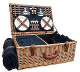 Red Hamper FH063cestino da picnic equipaggiato per 4persone, marrone, con rivestimento in tweed blu, 38x 58x 22cm