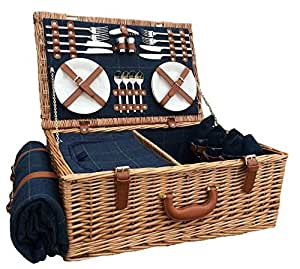 Red Hamper FH063 4 Person Blue Tweed Fitted Picnic Basket, Brown, 38 x 58 x 22 cm