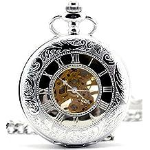 Infinite U Retro Estilo Romano Esqueleto Hueco Colgante Collar Reloj de Bolsillo Mecánico Color Plateado