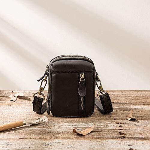 YMM Multifunktionale Außentaschen Pferd Leder Handytasche Leder Herren Tasche (Color : Black) - Pferde-leder Tasche