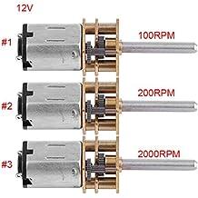 DC 12V Motor de Engranajes Motor de Reducción de Velocidad Motor Micro Motor Reductor de Velocidad con Eje Largo para RC Modelo de Coche Robot DIY 100/200/2000RPM (12V 200RPM)