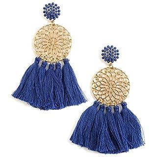 Happiness Boutique Damen Statement Ohrringe mit Quasten in Blau | Quastenohrringe Blumen Design in Goldfarbe