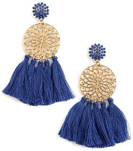 Happiness Boutique Damas Pendientes de Borla en Azul | Pendientes Llam