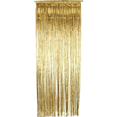 WINOMO 3 * 1m métallique fleuret frange Rideau draperies porte rideaux décoration (or)