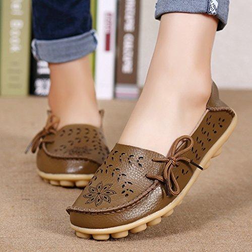 Damen Casual Mokassin Leder Loafers Fahren Schuhe Comfort Freizeit Flache Schuhe Slipper Flats chuhe Low-top Lederschuhe Erbsenschuhe Braun-Type 1
