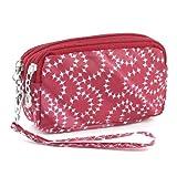 sourcingmap® Nylon Lining 3 Zip Pockets Cash Keys Purse Wallet Red White for Women