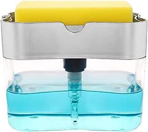 Gray Trinwin Dispenser per Pompa di Sapone 2 in 1 e Supporto per Spugna per Dispenser di Sapone da Cucina Dispenser per lavabo da appoggio