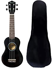 Vault UK-003 Soprano Colourful Ukulele With Gig Bag (Black)