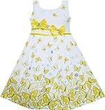 Mädchen Kleid Schmetterling Gelb Doppelklicken Bogen Binden Sommer Strand Gr.98-104