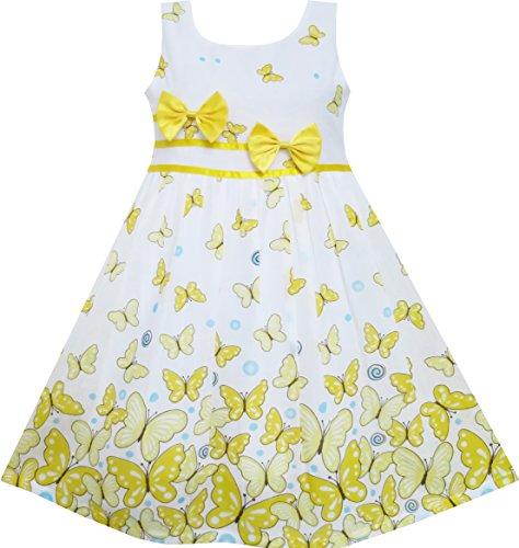 Sunboree Mädchen Kleid Schmetterling Gelb Doppelklicken Bogen Binden Sommer Strand Gr.98-104