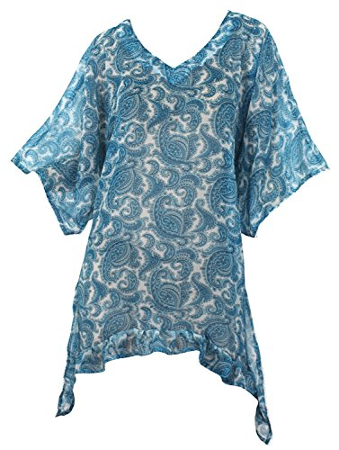 La Leela Sheer Chiffon V-Neck Blue Allover Printed Swim Strand Badmode Kaftan Damen Strandponcho Causal Kleid Überwurf Kaftan Strandkleid Bikini Tunika Cover Up (V-neck Sheer Tunika)
