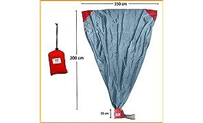 polaar XL Outdoor-, Picknickdecke und Stranddecke, Wasserdicht, Ultraleicht, 200 cm x 150 cm, in grau/rot, Kleines Packmaß - Ideal für Reisen und Camping