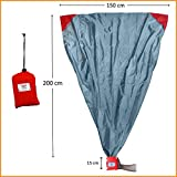 polaar XL Outdoor-, Picknickdecke und Stranddecke, Wasserdicht, Ultraleicht, 200 cm x 150 cm, in grau/rot, Kleines Packmaß - Ideal für Reisen und Camping (200 x 150 cm, rot/grau)