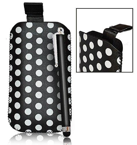 Accessory Master-Custodia a pois nero Pocket Custodia a tasca, in similpelle, colore: nero, pennino, per Samsung galaxy gio S5660