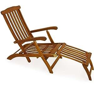 Chaise longue transat pliable en bois d 39 acacia bain de soleil queen mary jardin - Chaise longue en anglais ...