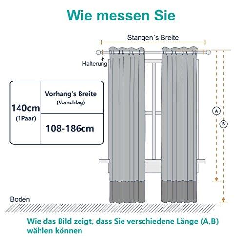 Vorhang blickdicht Vorhänge Isolierte Vorhänge – PONY DANCE 175 x 140 cm (H x B), Grau 2 Stücke Verdunkelungsvorhänge mit Ösen, Energiespar & Wärmeisolierend, Einfacher und Moderner Stil für Schlaf und Wohnzimmer - 6