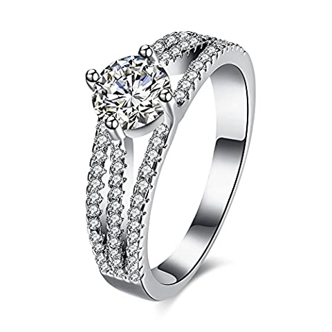 FJYOURIA Femmes 925 Sterling Silver Brilliant Round Cut Blanc CZ Engagement / Wedding / Anniversary Band Ring Avec Simulated Diamonds (52)