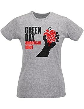 Camiseta Mujer Slim Green Day American Idiot - Maglietta 100% algodòn ring spun LaMAGLIERIA