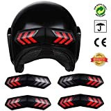 QZY 12V Double Flashing Warning Light Wireless Motorcycle Helm Super Bright LED Light, Night Cycling Brake Lights Turn Signal Indicators