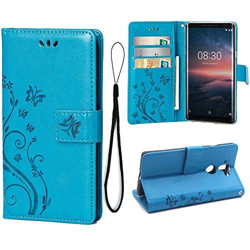 Teebo Custodia Cover per Nokia 8 Sirocco, Custodia a Portafoglio in Pelle PU Premium con Porta ID e Porta Carte di Credito con Supporto Chiusura Magnetica, Blu