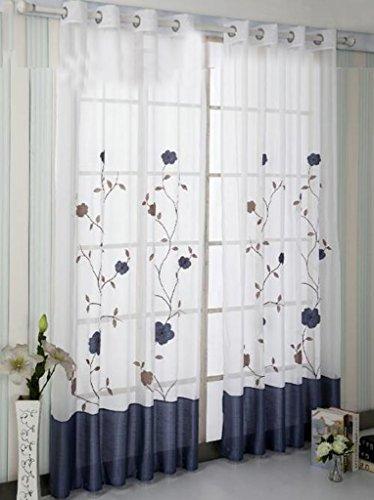 Simpvale - tenda con ricamo floreale per camera, larghezza 140 cm, poliestere, blu, hauteur 245cm