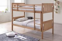 New Milan Wooden Kids Bunk Bed Shaker Style Modern Childrens Natural 3FT Single Bed Frame Bedroom Furniture