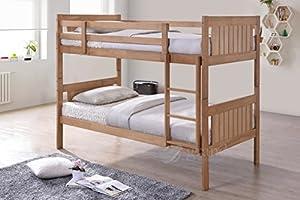 New Milan Wooden Kids Bunk Bed Shaker Style Modern Childrens Natural 3FT Single Bed Frame Bedroom Furniture