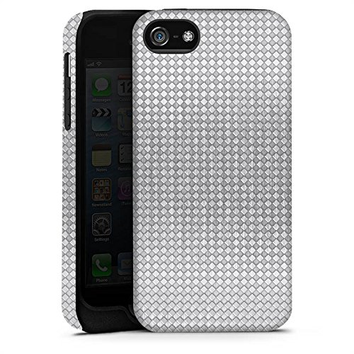 Apple iPhone X Silikon Hülle Case Schutzhülle Silber Muster Vierecke Tough Case matt
