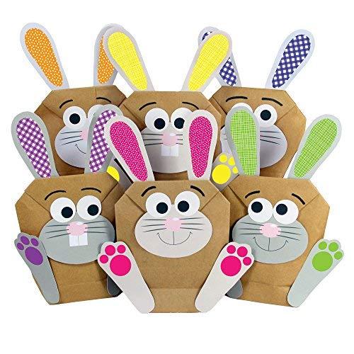 Papierdrachen 12 DIY Osterhasen Tüten - Bunte Geschenktüten zu Ostern zum selber Befüllen - zum Verpacken von Geschenken für Kinder und Erwachsene