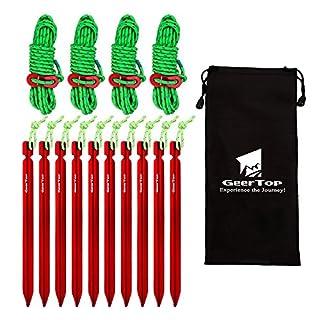 GEERTOP 10 Stck 18cm Aluminium Zeltheringen Heringe & 4 Stck a 4mm 400cm leuchtend reflektierend Abspannseile Seil & Tasche für Wandern Bergsteigen Camping (Rot)