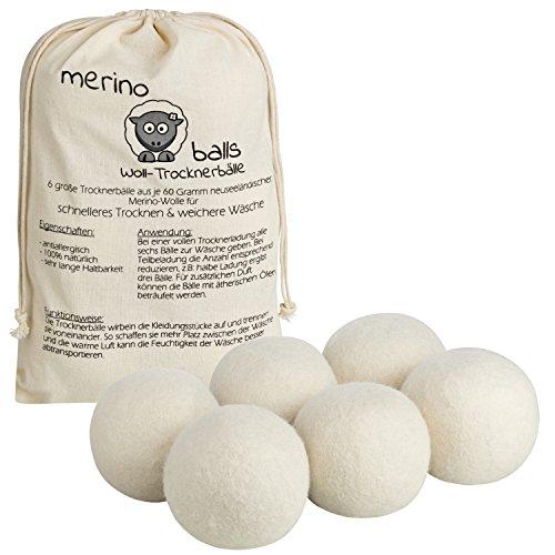 Trocknerbälle merino balls - 6 große Wollbälle aus reiner neuseeländischer Schafwolle für schnelle Trocknung und weiche Wäsche