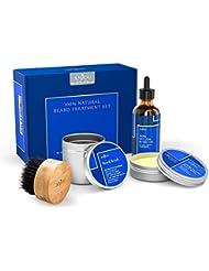 Anjou Bartpflegeset mit Bartöl + Bartbalsam + Bartbürste (Wildschweinsborsten), 100% Pures, Natürliches Pflegekit mit Bartbutter Reparierend Wachstum, Perfektes Geschenkset
