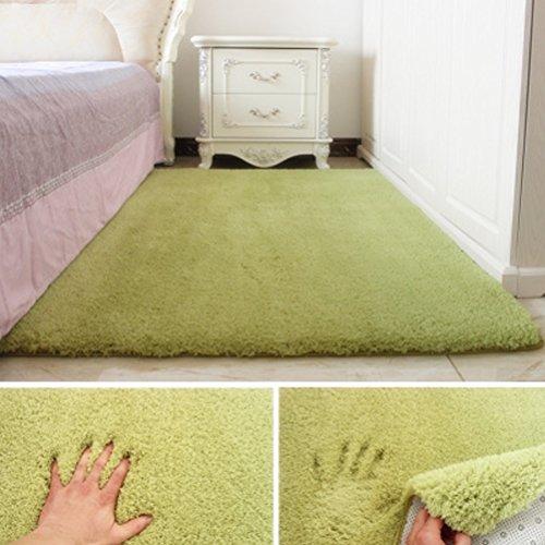 tore LUYIASI- Einfache Moderne rechteckige Lamm Wohnzimmer Couchtisch Schlafzimmer Teppich Non-Slip Mat (Farbe : Grün, größe : 80x120cm) ()