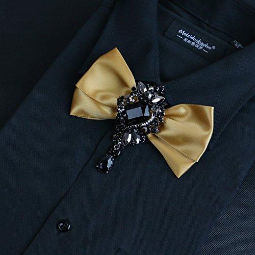 Gold Für Verheiratet Ringe Männer (ZLYAYA Krawatte,Bow Tie Anzug Kleid Shirt Diamond Ring Blume tide männlich Bogen verheiratet Bräutigam Bow Tie Geschenkbox, 7 cm-12 cm, gold)