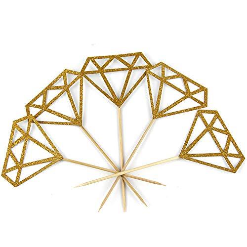 Yayaki Diamant-Kucheneinsatz, 30 Stück, silberfarben, glitzernd, für Cupcakes, Braut- und Duschdekoration 13.5 x 5.0 cm Gd