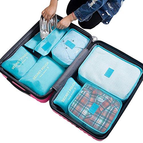 Belsmi Reise Kleidertaschen Set 7-teilig Reisetasche in Koffer Reisegepäck Organizer Kompression Taschen Kofferorganizer Mit Schuhbeutel (Grün) Hellblau
