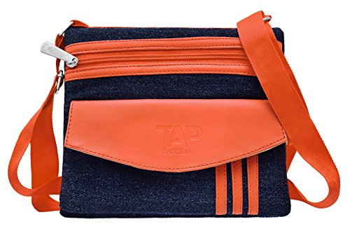 Tap Fashion Orange Denim Sling Side Bag Cross Body Multi Pocket Purse for Women & Girls  available at amazon for Rs.349