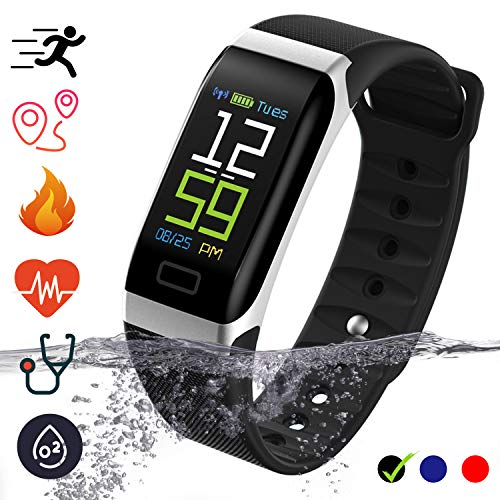 Bluetooth Smartwatch Fitness Uhr Intelligente Armbanduhr mit Schrittzähler Herzfrequenzmesser Schrittzähler Schlaftracker Kompatibel mit iOS Android Smartphone (Schwarz)